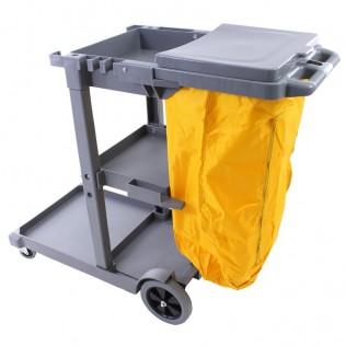 Carro de limpieza multifunción profesional con estantes