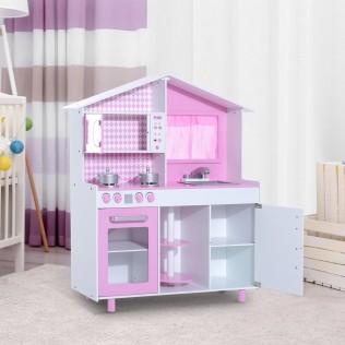 HomCom® Cocina Madera Juguete para Niños +3 Años Rosa 110x32.5x99.5cm