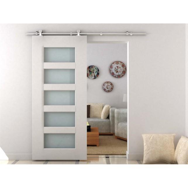 Homcom kit para puertas corredizas madera riel acero for Riel para puerta corrediza