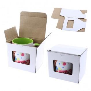 Caja de cartón para tazas con ventana