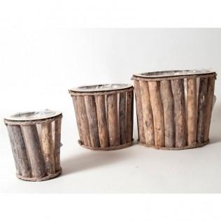 Juego 3 maceteros round madera