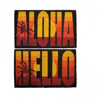 Felpudo fibra coco 60x40 aloha hello 2 surt.