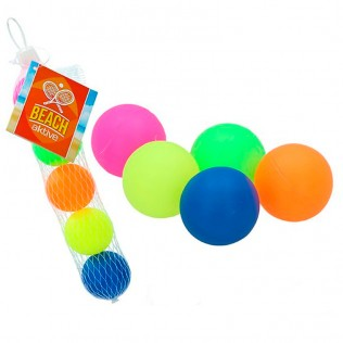 Set 5 pelotas palas playa en red
