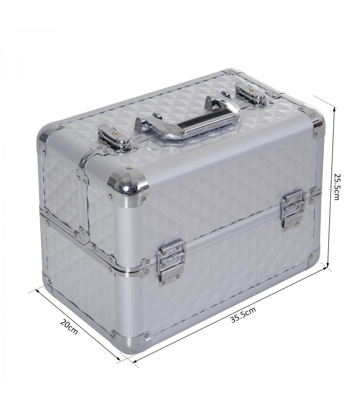 b3aa479bd17 HomCom® Maletín para Maquillaje Caja de Belleza Portátil 4 Niveles ...