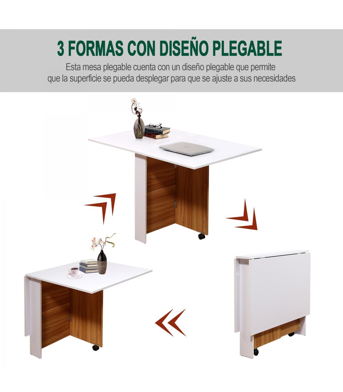 HomCom® Mesa Comedor Plegable con Ruedas Estante Multifuncional ...