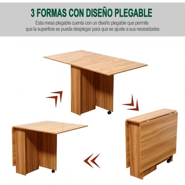 Homcom® mesa comedor plegable con ruedas mesa auxiliar 3 formas madera
