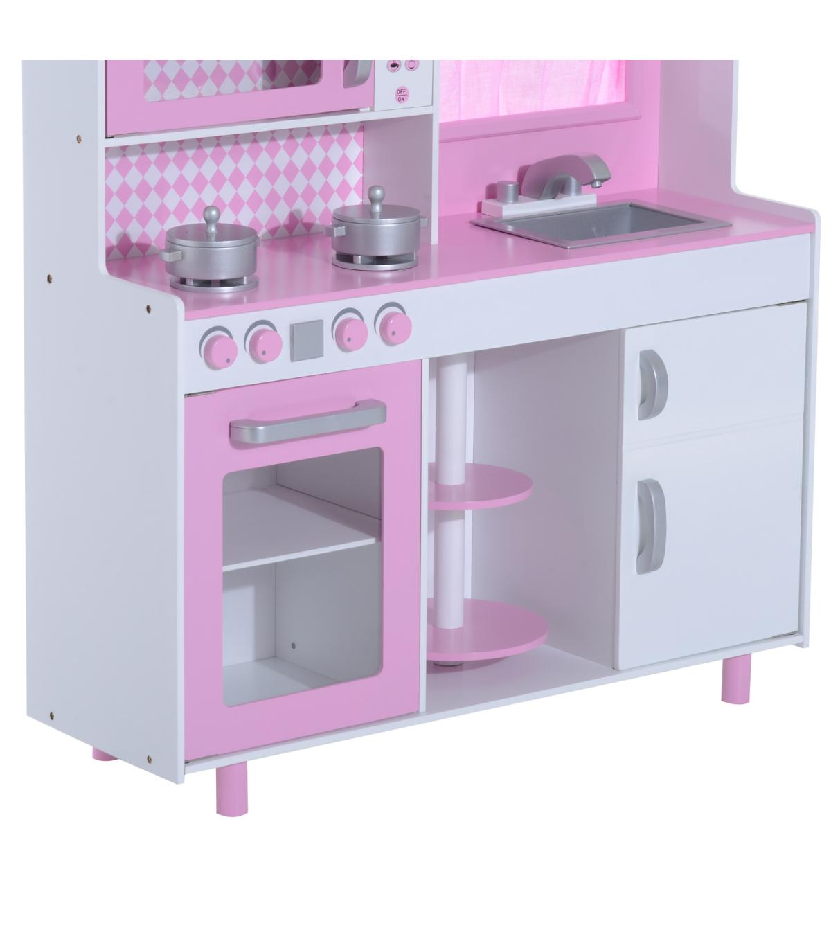 Cocina Madera 110x32 Niños3 5cm 5x99 Años Homcom® Juguete Para Rosa u31JlKcTF5