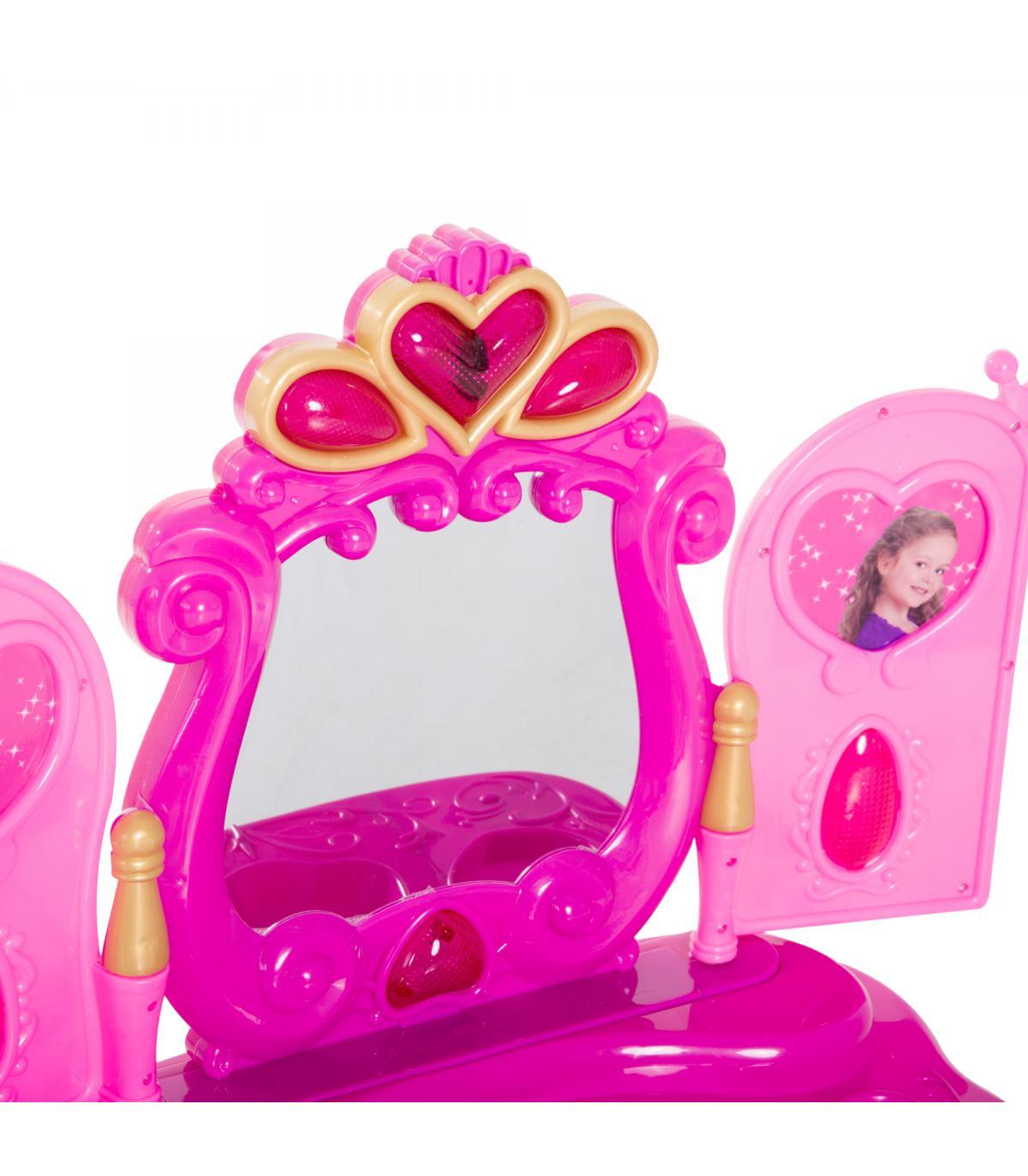 Luz De Con Mesita Y 43 Maquillaje Tocador Niña Homcom® 5 Sonido Rojo Aj4c3RLS5q