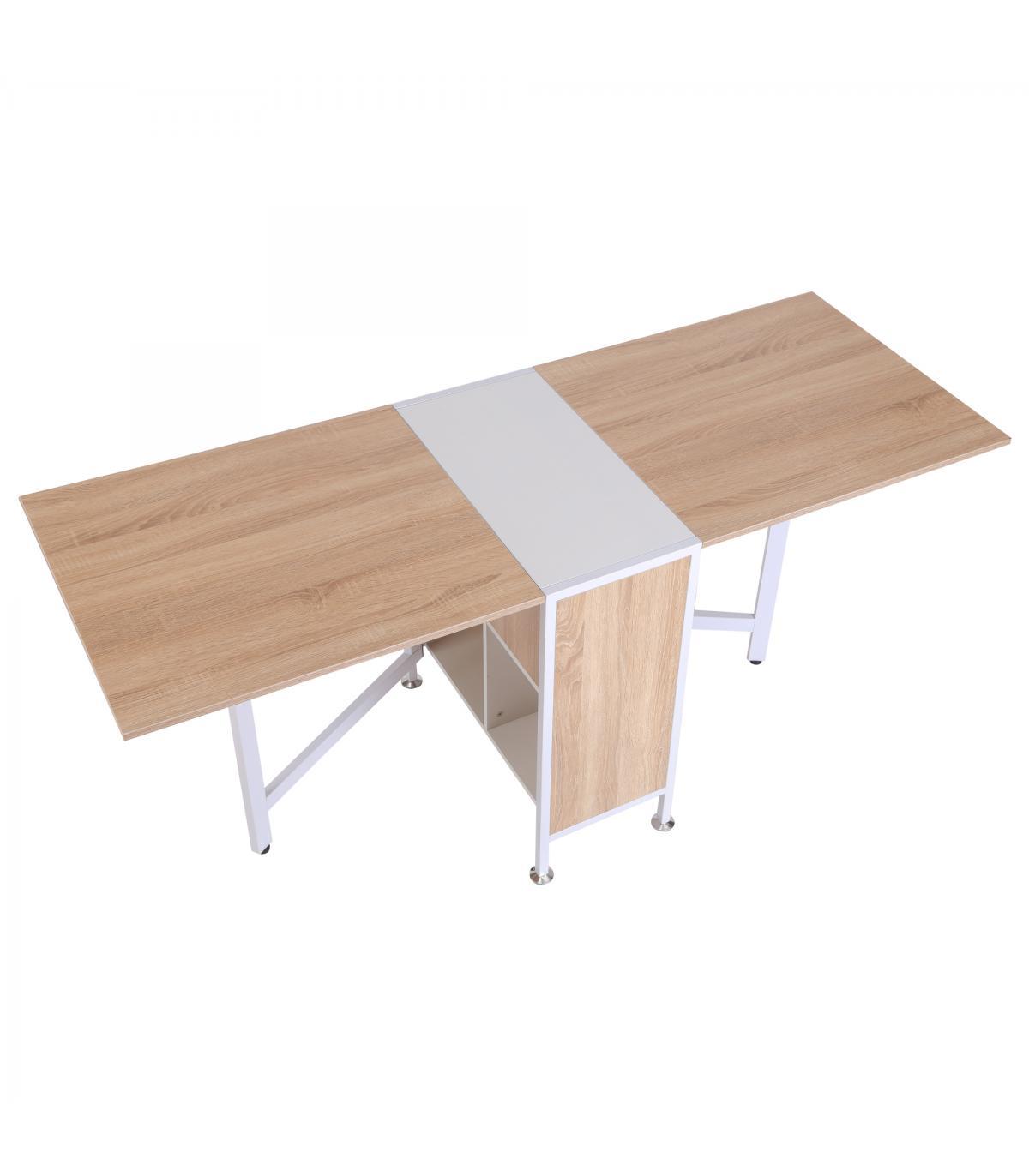 HomCom® Mesa Plegable de Almacenaje 4 Estantes para Comedor Salón Madera