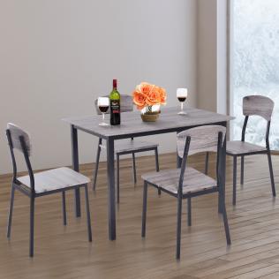 Homcom® 5 piezas conjunto de mesa y 4 sillas de comedor juego muebles de  cocina sala escritorio madera y metal gris