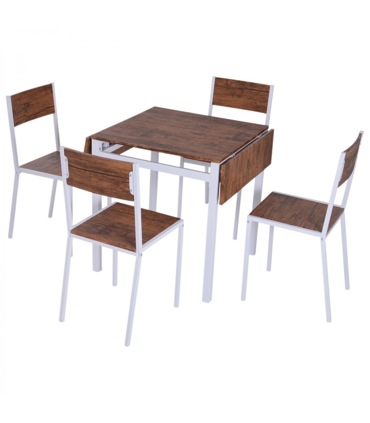 HomCom® 5 Piezas Conjunto de Mesa Extensible y 4 Sillas de Comedor ...