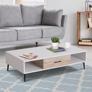 Homcom® mesa de centro mesa con estante y cajón para salón mesa para sala  de estar comedor mesita café 110x60x30cm