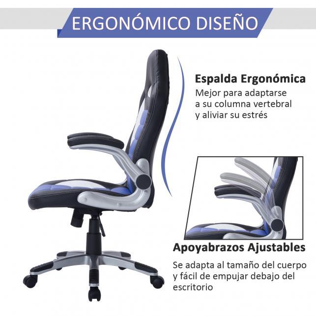 HomCom® Silla Oficina Ejecutiva Giratoria Negro Azul y Blanco