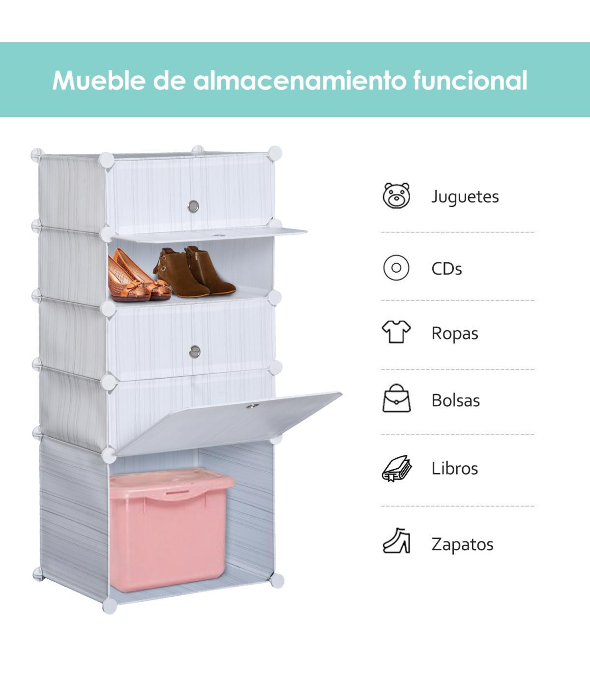 Homcom Armario Modular Plastico Estanteria 5 Cubos Ropero Zapatero