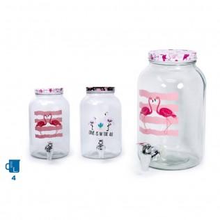 Garrafa de cristal con dispensador 4l con tapa