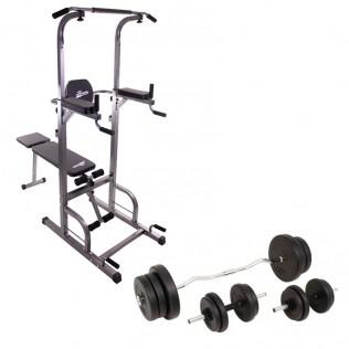 Pesas MusculaciónTorre BancoJuego Set Kg 60 De Con q35j4ARL