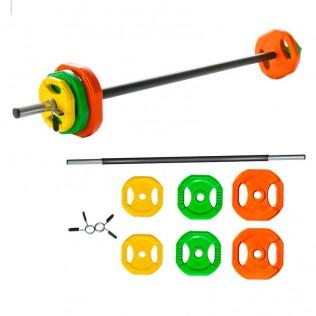 Set pesas con barra recta de colores 20 Kg