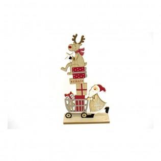 Santa con reno 35.5 cm