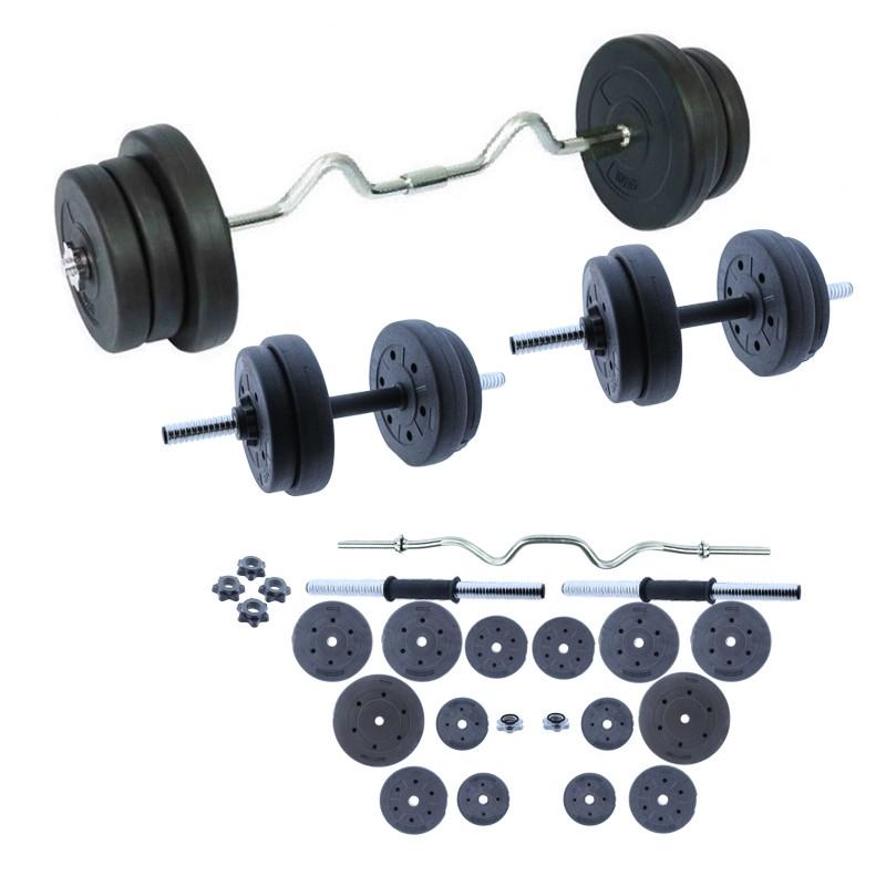 Juego de pesas con mancuernas de 2 que incluye entrenamiento I 30 kg Juego de