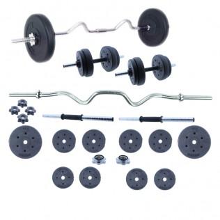 Set de Body Pump, Juego de pesas 30 KG con barra y mancuernas